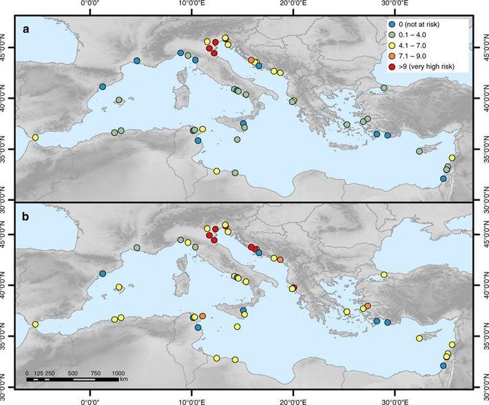 Indice de risque d'inondation sur chaque site du patrimoine mondial : carte a, en 2000 ; ...