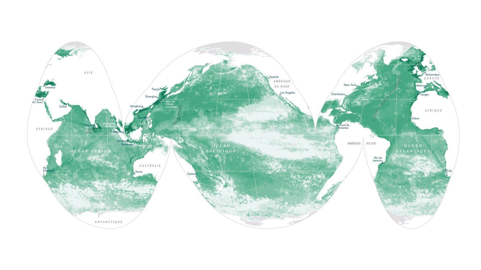 Le dégradé de vert correspond à l'impact de l'influence humaine sur l'océan. Les zones les plus ...
