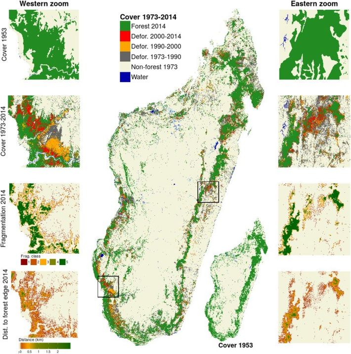 Carte montrant la déforestation à Madagascar entre 1953 et 2017 ( Vieilledent et al., CIRAD ).