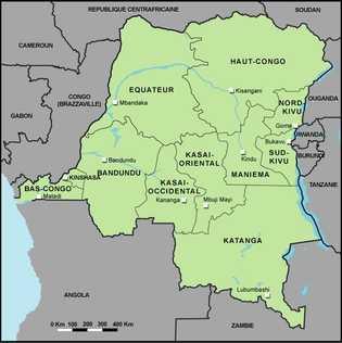 Carte des provinces de la République démocratique du Congo.