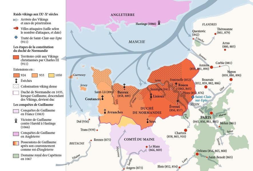 Carte reproduisant les raids vikings aux 9-10e siècles.