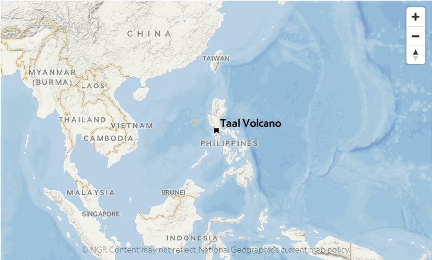 Le volcan Taal, aux Philippines.