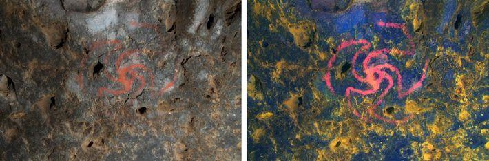 Cette œuvre d'art emblématique de la Pinwheel Cave a été peinte à l'aide de pigments d'ocre ...