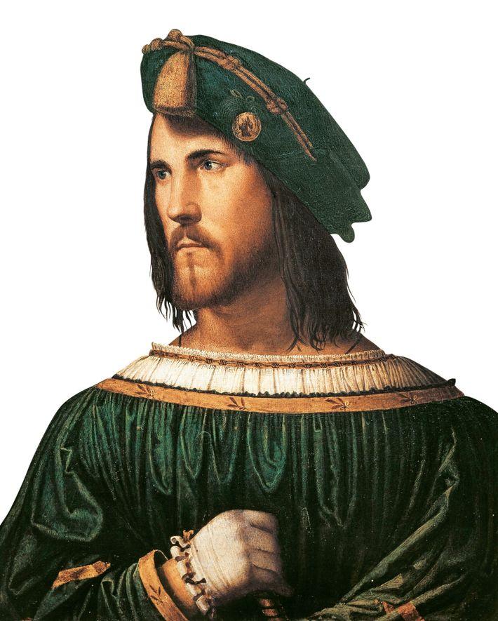 Cette peinture à l'huile de César Borgia, l'ennemi de Catherine, a été peinte par Altobello Melone ...