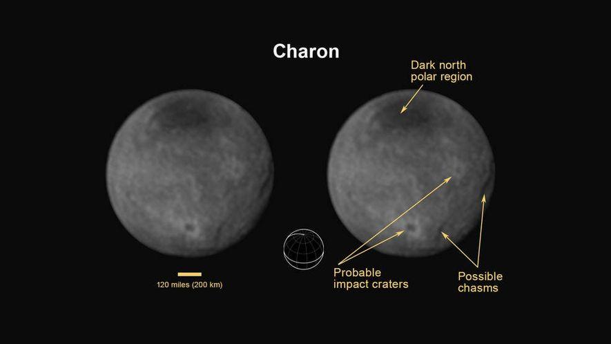 Charon est un astre fait de gouffres et de cratères et surmonté d'un pôle nord sombre.