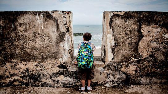 Un jeune touriste américain issu de la 11e génération de descendance des esclaves scrute l'horizon depuis ...