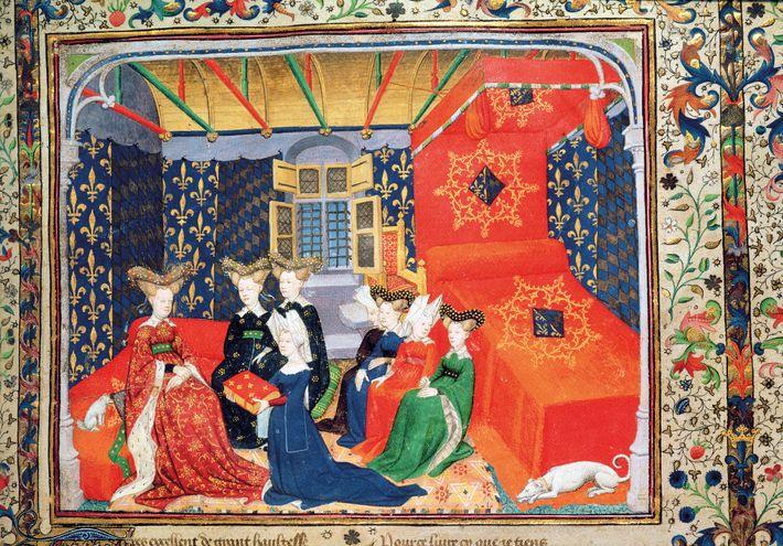Christine de Pisan s'agenouille devant la reine Isabeau de Bavière (à gauche) pour lui présenter Les Cent ...