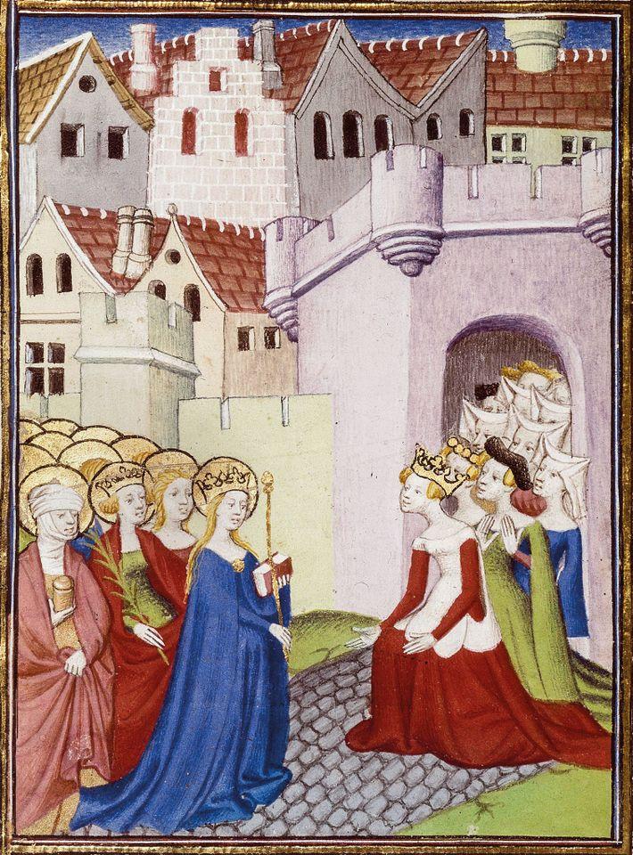 Consécration : la Justice, Christine et les femmes renommées (à droite) accueillent la Vierge Marie et ...