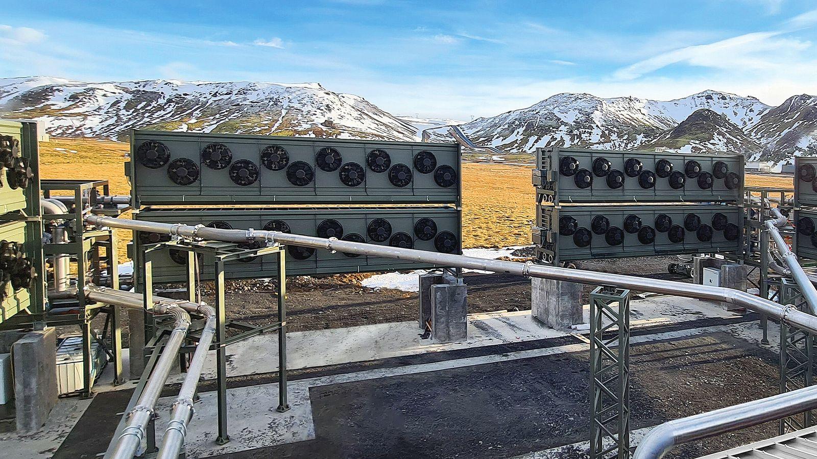 Usine de captage de dioxyde de carbone dans l'air, par Climeworks.