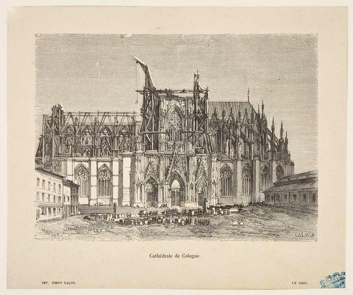Cette illustration du 18esiècle montre une cathédrale de Cologne en ruines avant sa restauration du 19esiècle.