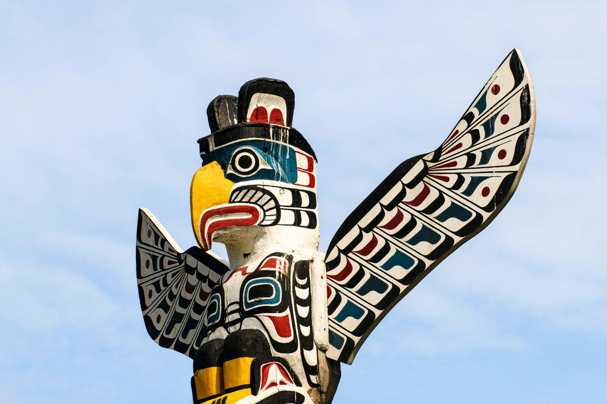La Colombie-Britannique, Canada. Un totem dans le parc Stanley, à Vancouver.