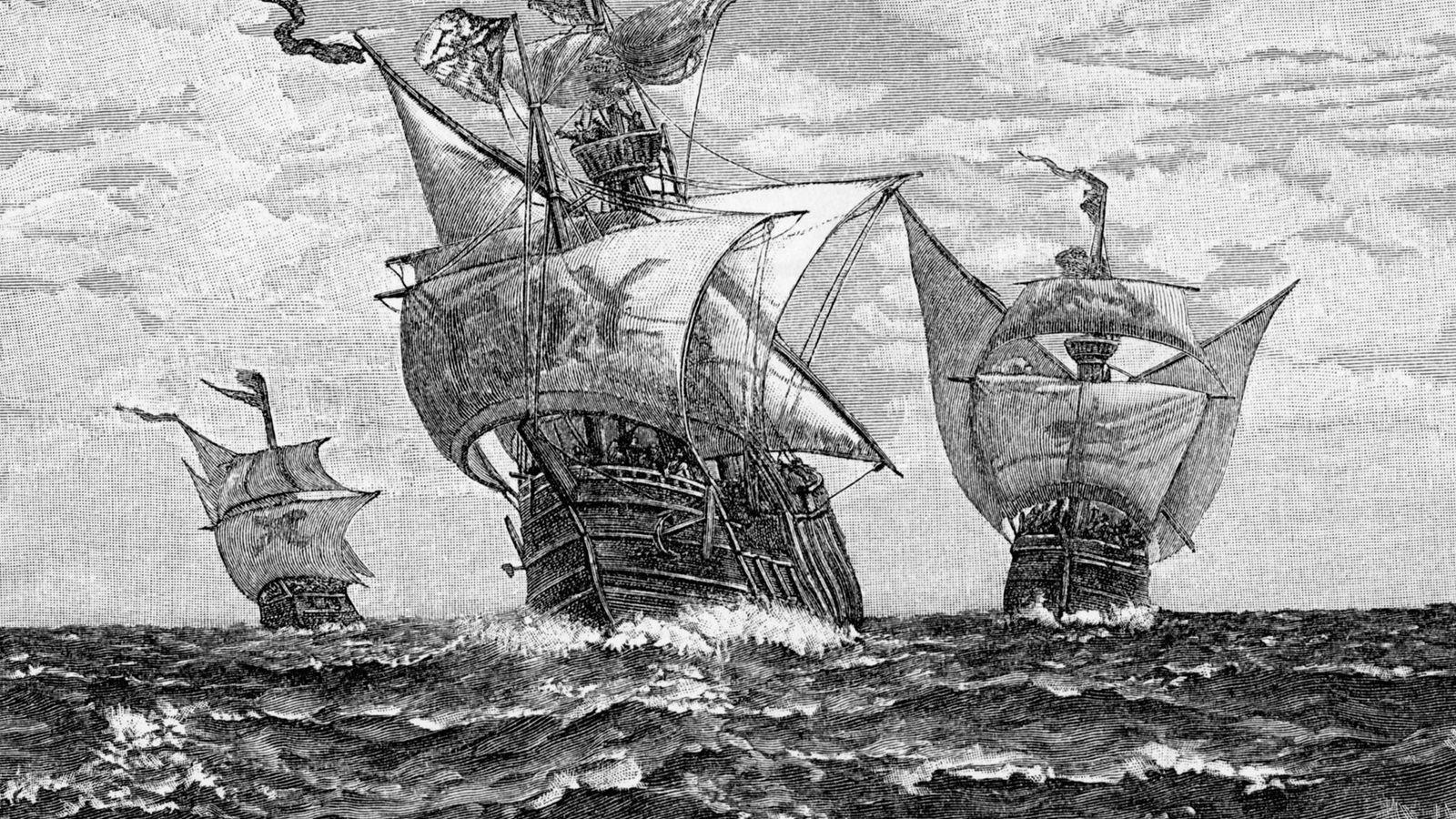 Cette gravure, dont la date est inconnue, représente les navires de la première flotte de Christophe ...