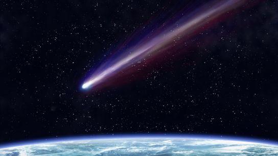 Vue d'artiste d'une comète se dirigeant vers la Terre.