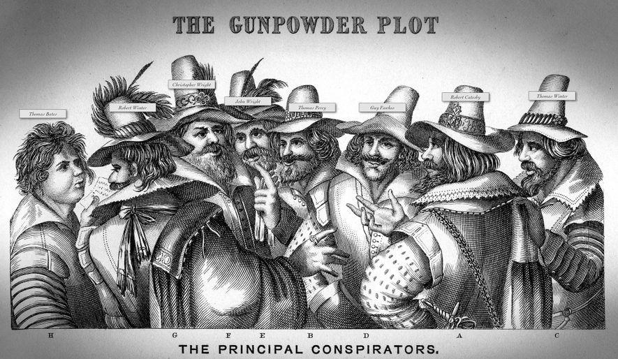 Robert Catesby, le cerveau de la conspiration des poudres, est représenté (deuxième en partant de la ...