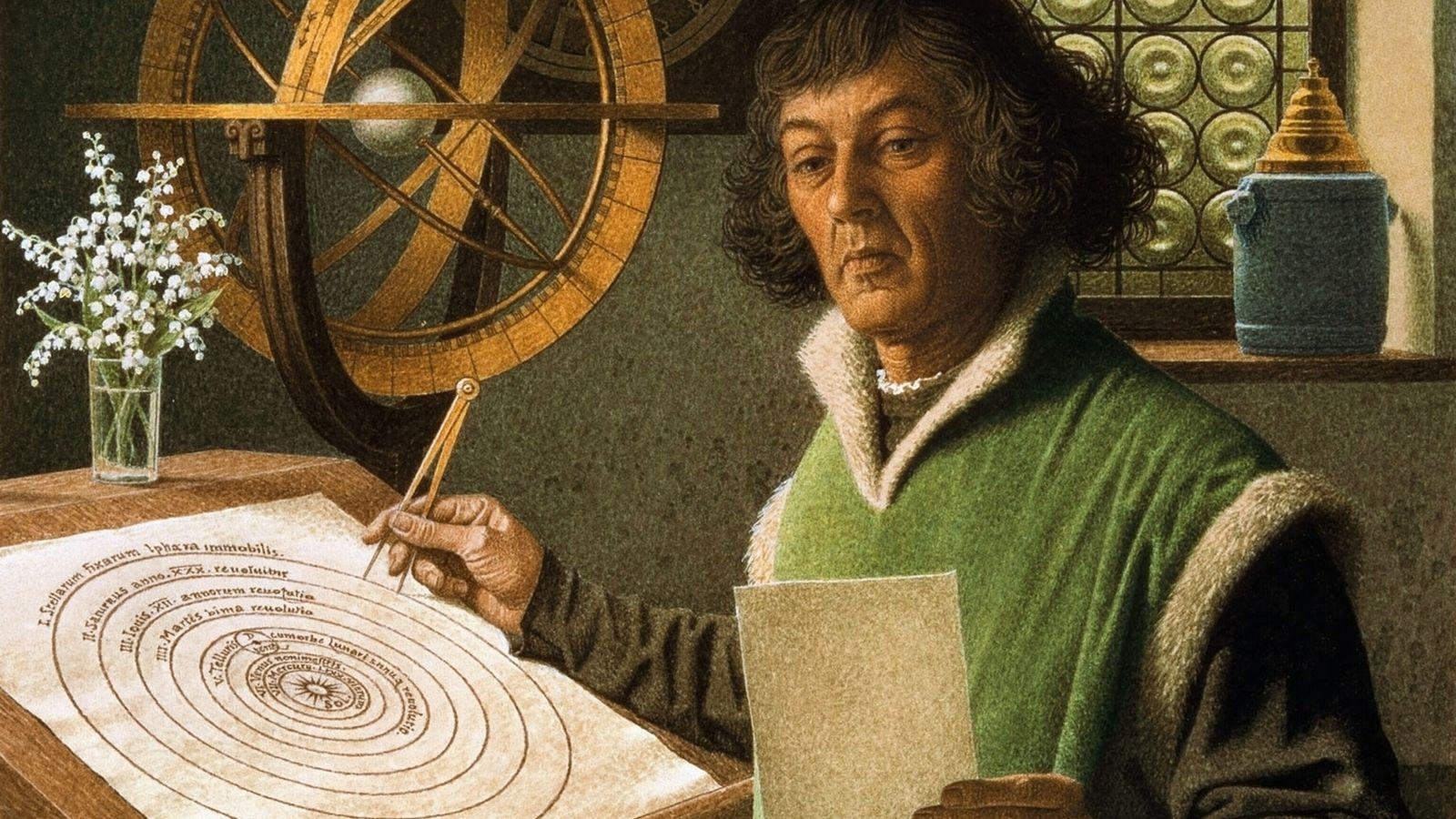 Copernic est représenté à l'œuvre dans cette peinture du 20e siècle de Jean-Léon Huens, commandée par ...