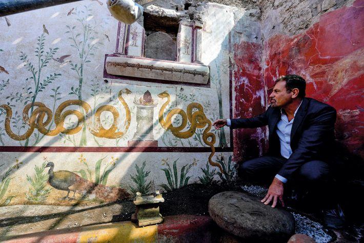 Le conservateur Massimo Osanna examine une fresque dans un lararium à Pompéi.