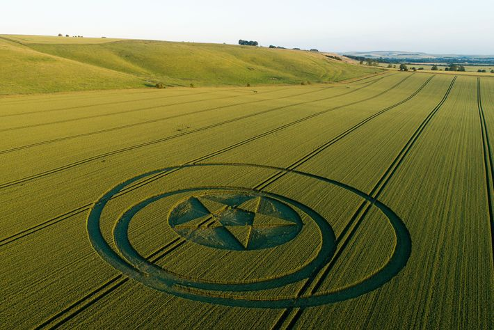 Cet agroglyphe situé près de la colline Hackpen dans le Wiltshire a été réalisé avec une ...