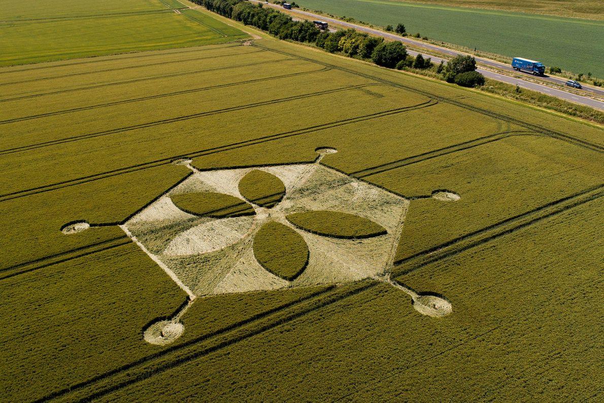 Situé près de Yarnbury Castle dans le Wiltshire, cet agroglyphe s'étend sur plusieurs rangs de céréales.