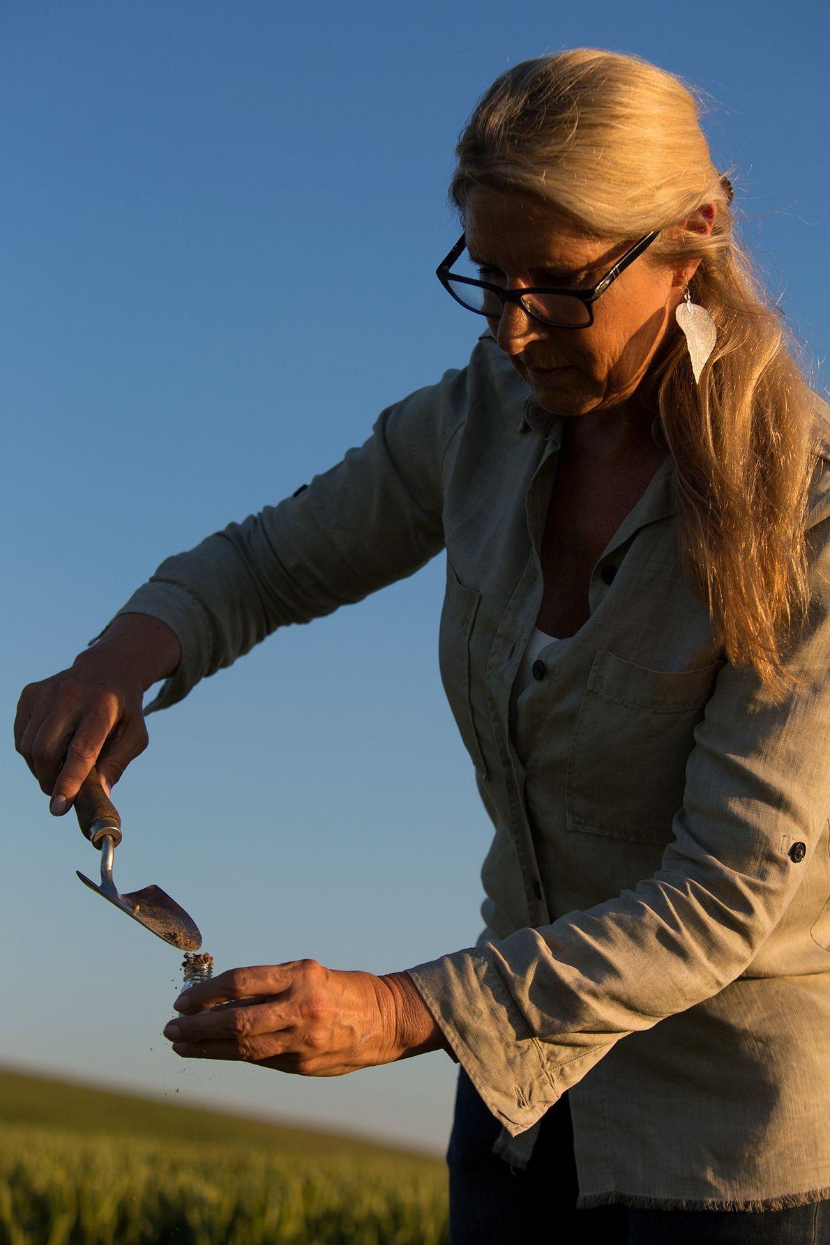 Monique Klinkenbergh, qui étudie les agroglyphes, prélève des échantillons de terre sur le site d'un de ...