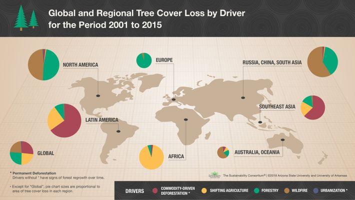 Analyse des causes de la déforestation, entre 2001 et 2015. En rouge, la part liée à ...