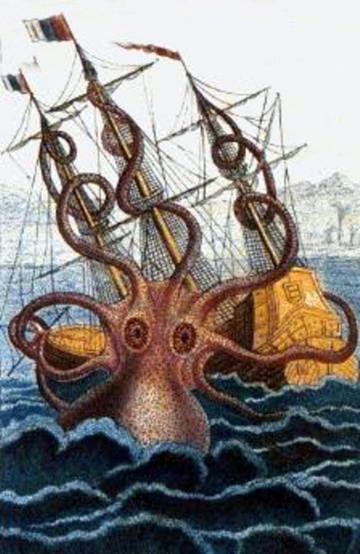 Attaque d'un poulpe colossal au large des côtes angolaises. Cette illustration, tirée de l'oeuvre de Pierre ...