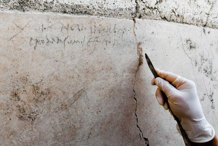 Un travailleur romain aurait inscrit la date sur le mur de la maison au jardin. Tracé ...