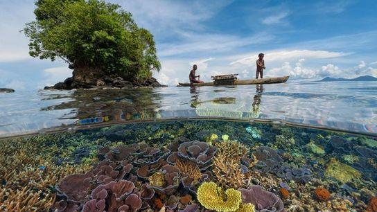 Deux pêcheurs, un père et son fils, naviguent à bord d'une pirogue en bois sur un ...