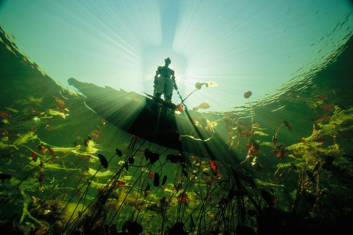 Un pêcheur bayei apparaît à contre-jour sur un mokoro et projette son ombre sur les eaux ...