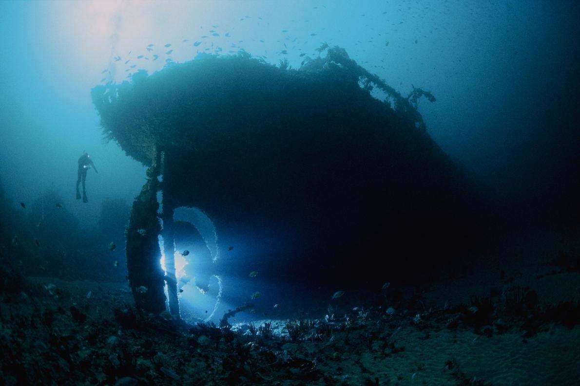 Le SS Nord, un pétrolier de 82 mètres de long, a sombré en 1915. L'épave repose ...