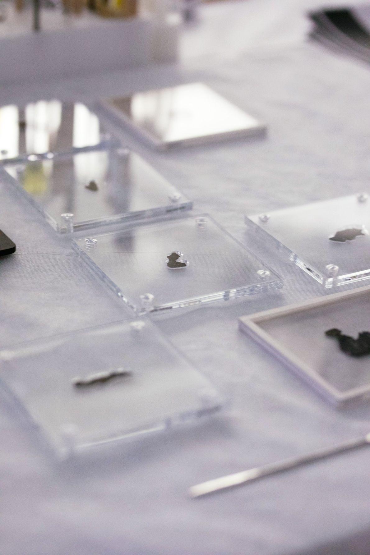 Conservés dans des supports sur-mesure en acrylique, les fragments des manuscrits de la mer Morte du ...