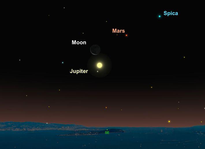 Le 14 décembre, un mince croissant de lune veillera sur Jupiter.