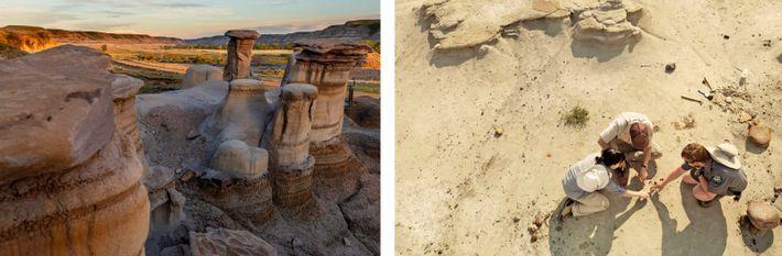 GAUCHE : Découvrez la topographie unique des Hoodoos, tout près de Drumheller, et le parc provincial ...