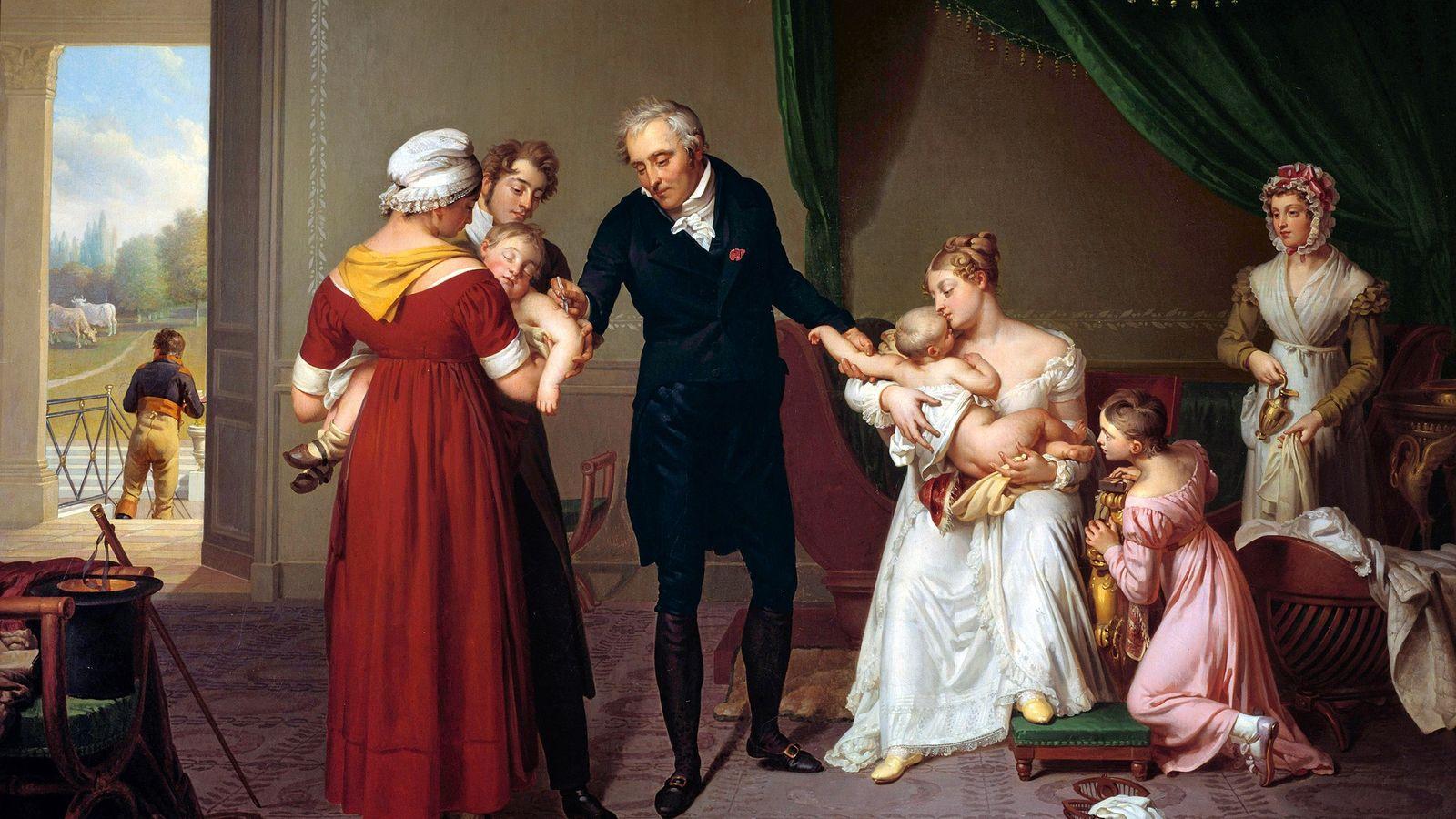 La vaccination est entrée dans les mœurs au début du 19e siècle, elle est ici représentée par ...