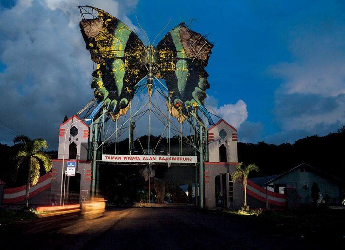 Un décor de Papilio blumei orne l'entrée du parc écotouristique de Bantimurung.