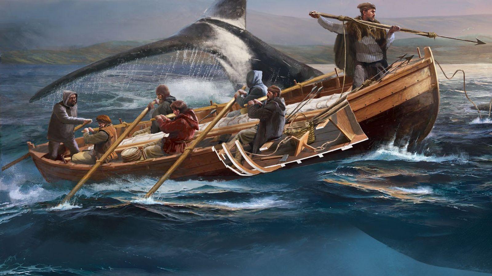 Illustration de la pêche d'une baleine à bord d'une chalupa, réalisée pour le numéro d'août 2018 ...