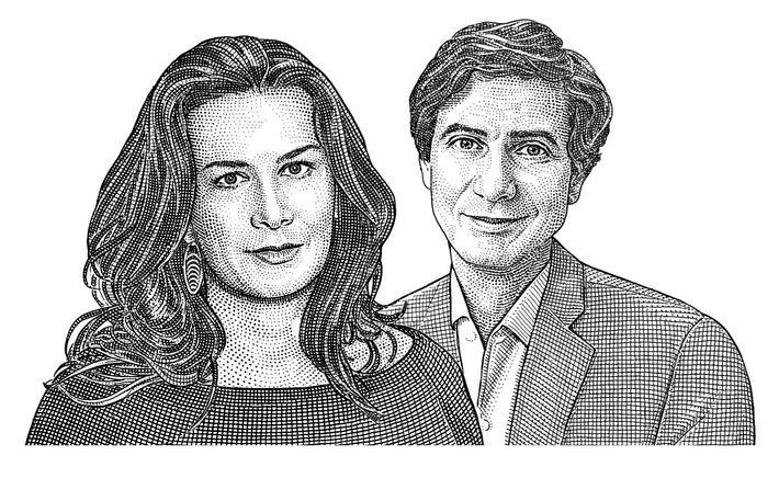 Caroline Sarkozy, architecte d'intérieur, et  Jacques Lacoste, propriétaire d'une galerie.