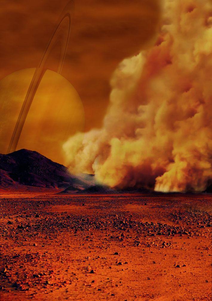 Illustration d'une tempête de poussière sur Titan, satellite de Saturne.