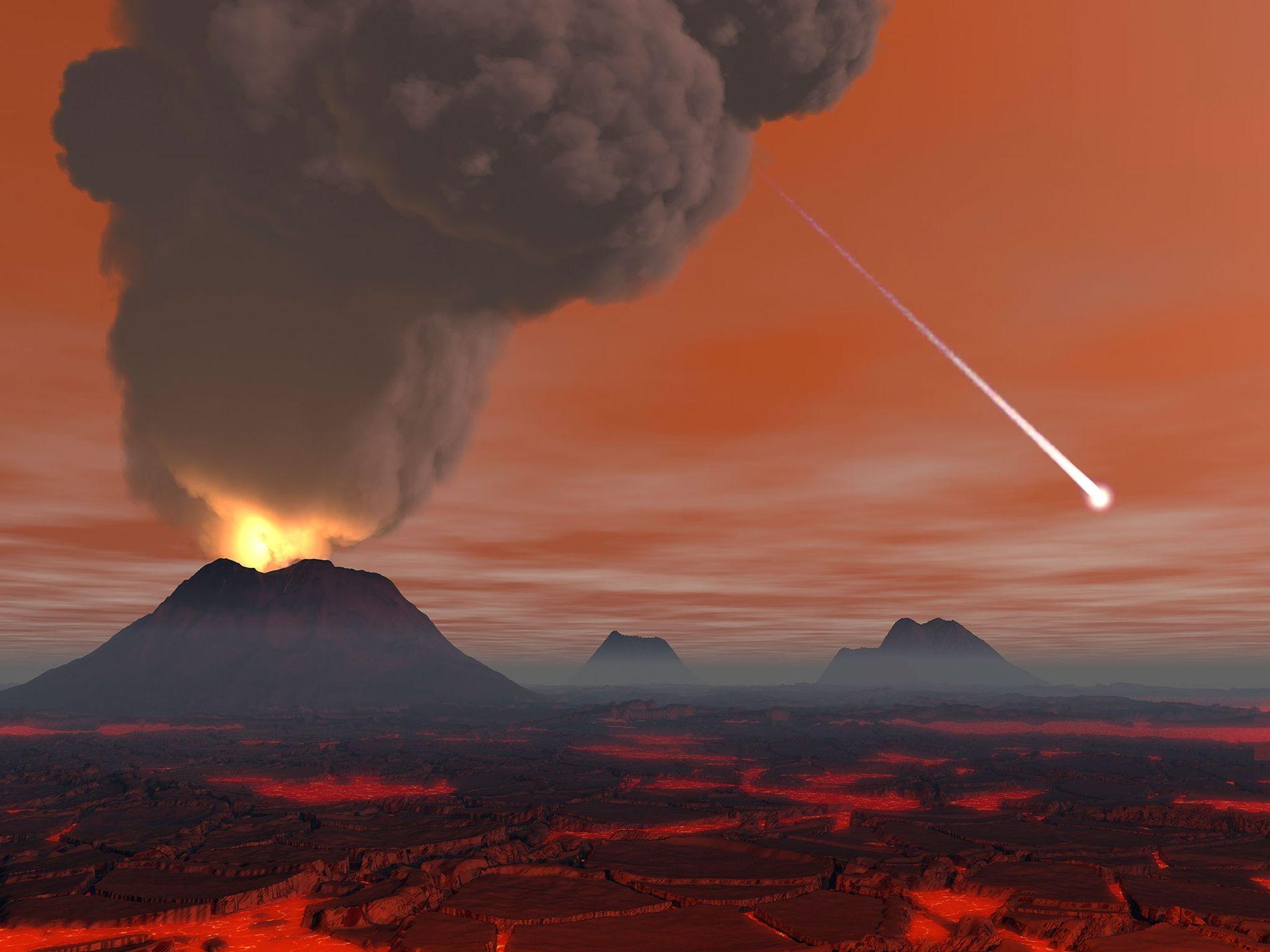 Les scientifiques et les artistes imaginent souvent la Terre primitive comme l'enfer, avec ses volcans et ...
