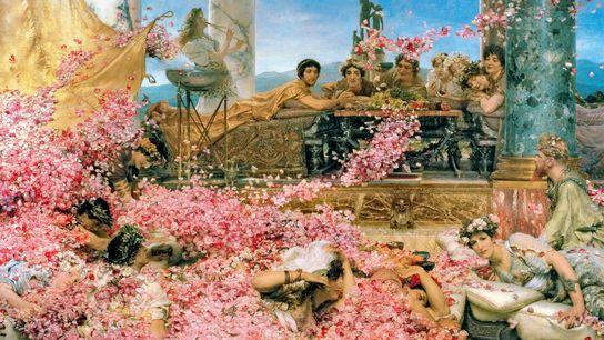 L'empereur romain Elagabal est allongé, vêtu d'une robe et d'une couronne dorées. Ses invités sont couverts ...