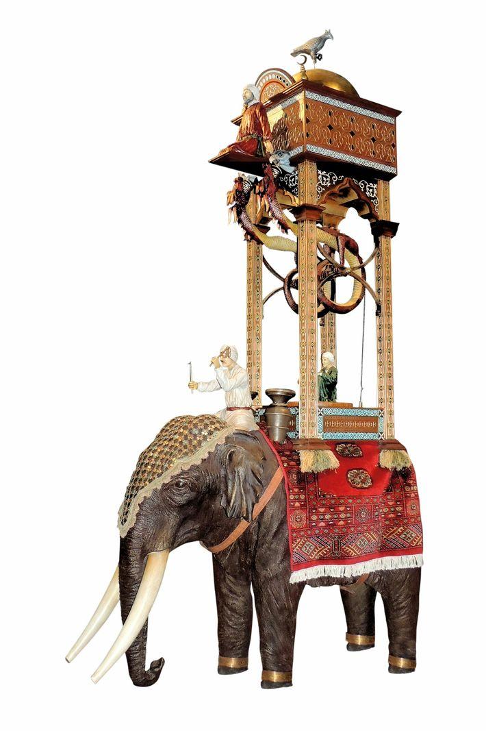 L'invention la plus iconique d'Al-Jazari est cette horloge à éléphant, qui ravit encore aujourd'hui le public. ...
