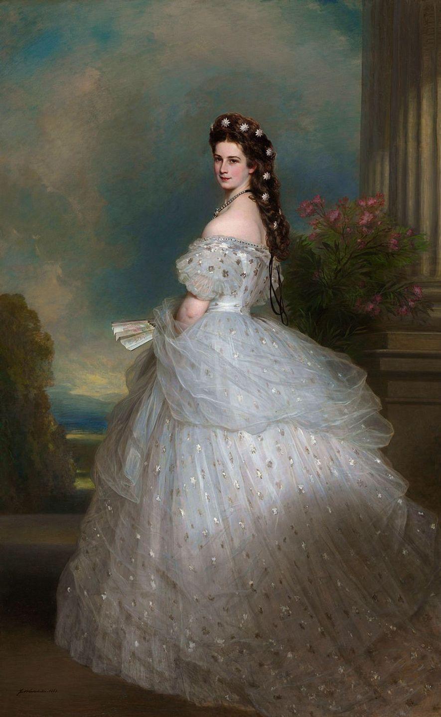 Ce portrait représente Sissi à 27 ans, la chevelure ornée d'étoiles en diamants.
