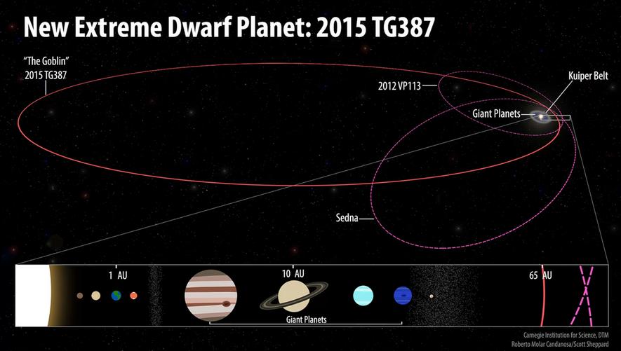 Les orbites de la planète naine 2015 TG387 et ses compagnons Inner Oort Cloud 2012 VP113 ...