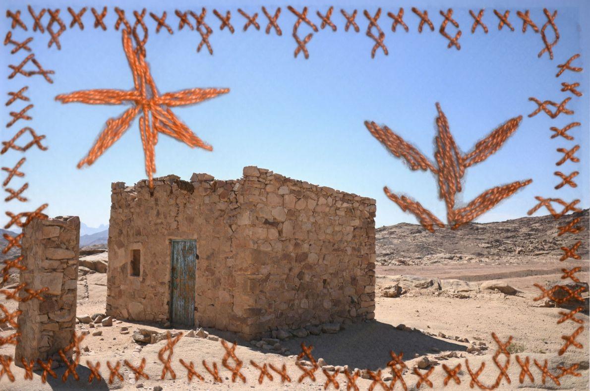 Yasmine Oum Mohamed a utilisé la broderie pour mettre en valeur cette photographie d'une maison bédouine ...