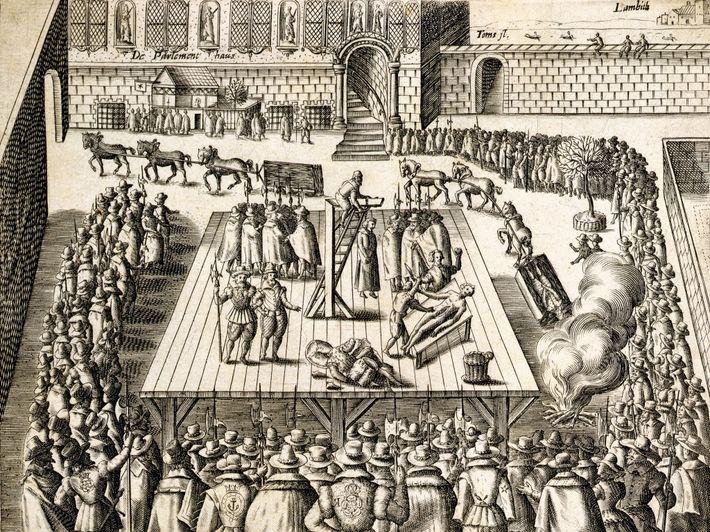 Une gravure de 1606 décrivant l'exécution de Guy Fawkes et de trois conspirateurs le 31 janvier ...