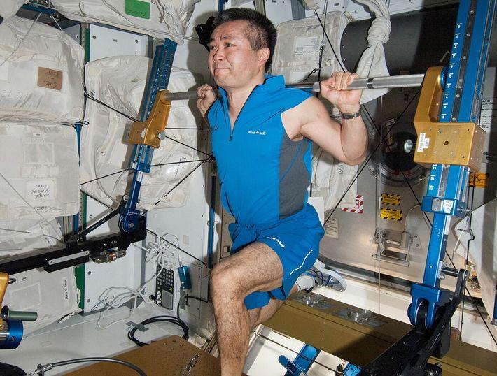 Koichi Wakata, astronaute de la JAXA (Agence d'exploration aérospatiale japonaise) et mécanicien navigant de l'Expédition 38, fait de ...