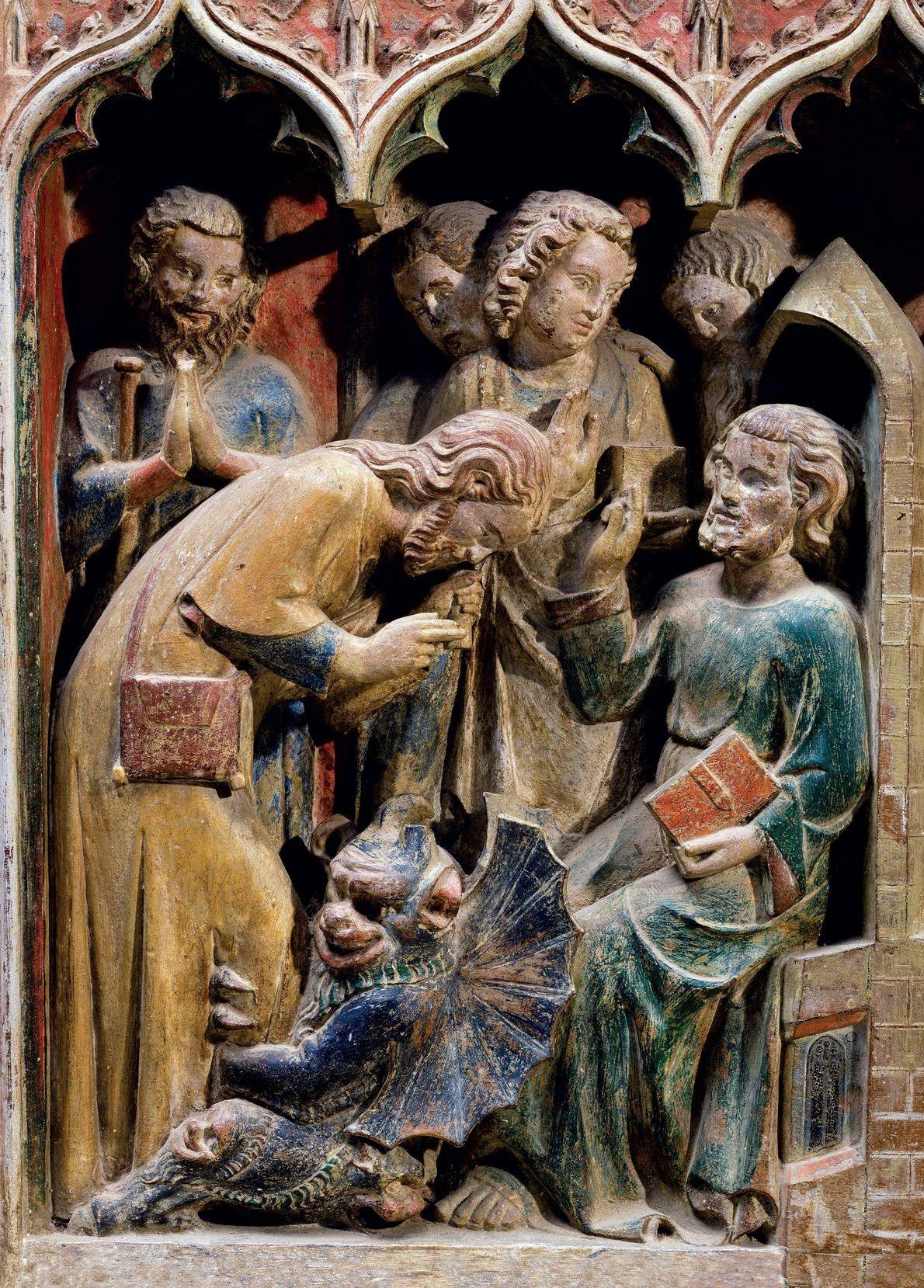 Saint Théobald exorcise un possédé dans ce retable du XIVe siècle de l'église Saint-Thibault en Bourgogne. ...