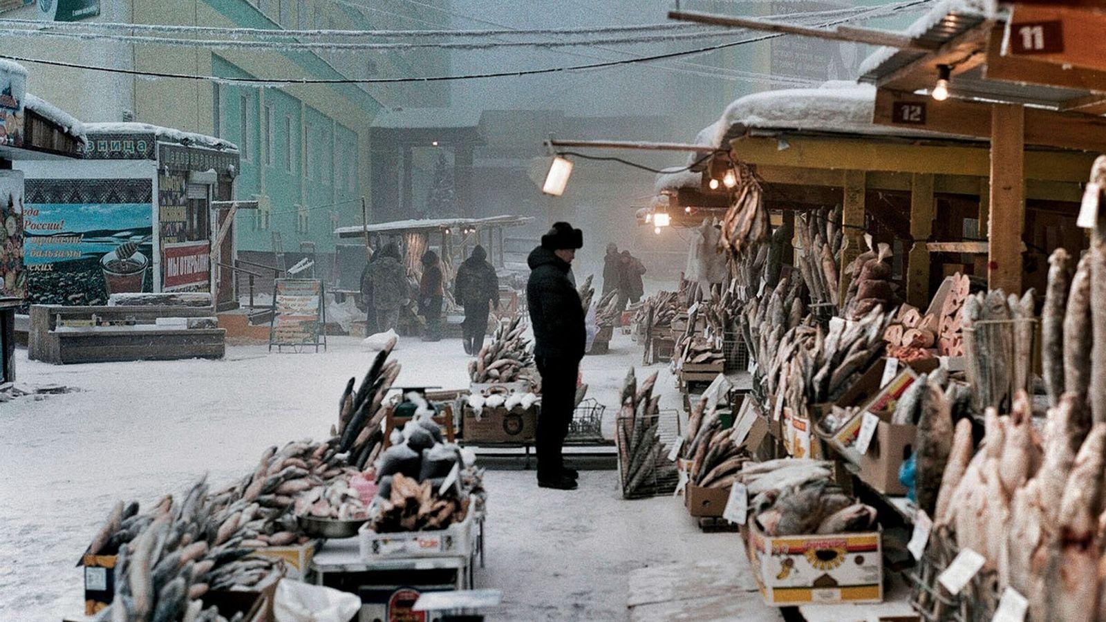 Le port de Iakoutsk sur la Lena permet de pêcher des poissons qui, dans le froid ...