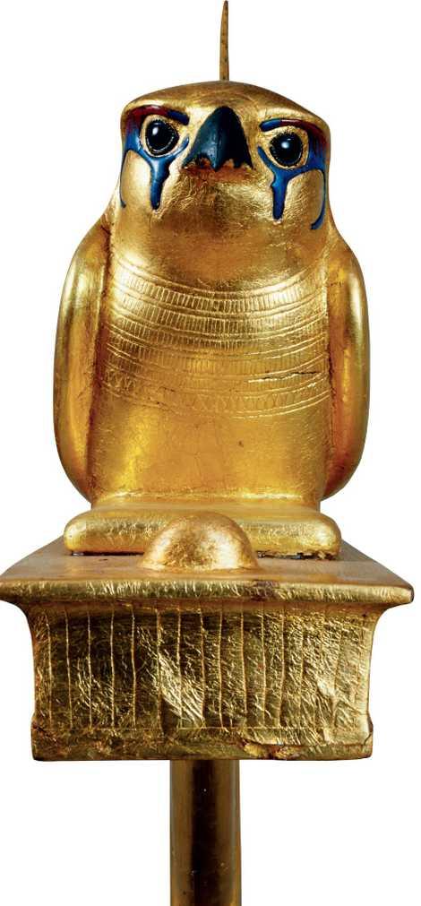 Représentation du dieu faucon Gemehsu, placé dans la tombe de Toutankhamon comme une offrande funéraire. Musée égyptien, Le Caire