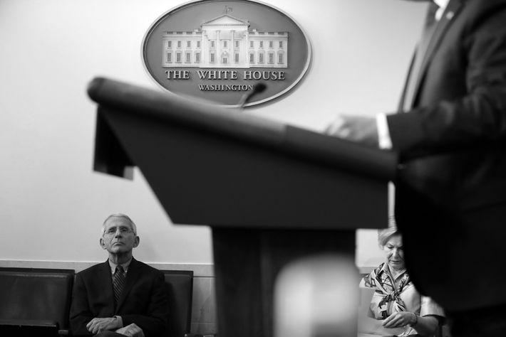 Le Dr Anthony Fauci et la Dre Deborah Birx, coordinatrice pour la Maison Blanche de la ...