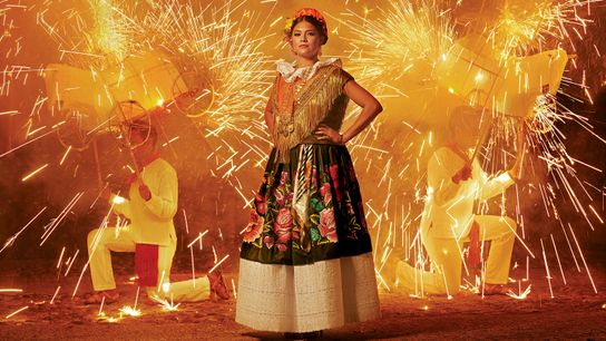 Cette femme porte une robe traditionnelle de Tehuantepec, au Mexique. Les fleurs sont brodées de fil ...